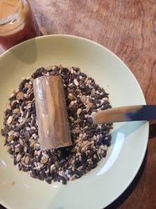 eine leere Klorolle wird mit Erdnussbutter bestrichen und durch Vogelfutter gerollt