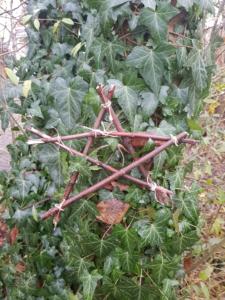 Ein Stern aus kleinen Ästen, die mit Schnüren zusammen gebunden wurden.