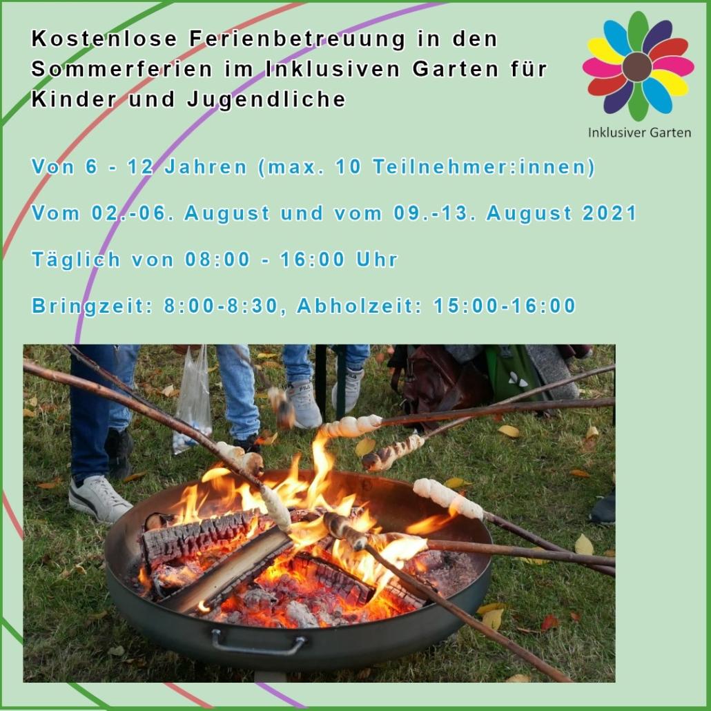 Ankündigung Ferienbetreuung mit Daten, dazu Foto unserer Feuerschale mit Stockbroten